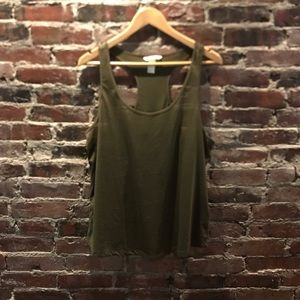 H & M basics army green top